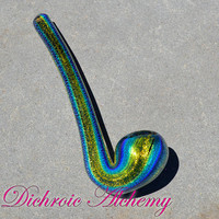 Golden Aquamarine over Cobalt Dichroic Warden Sherlock Glass Pipe, fast shipping!