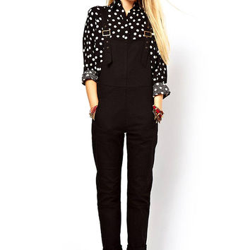 Black Jumpsuits with Metal Buckles