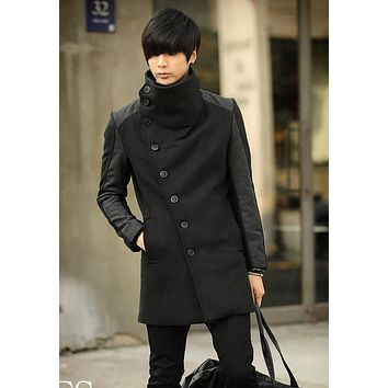 Cheap winter coats for men's 2017 cashmere clothing wool trench coat long design thermal cashmere coat slim casual outerwear 3XL