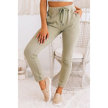 Alone At Last French Terry Sweat Pants (Olive)