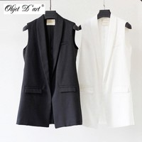 2017 Autumn Women Elegant Vest Fashion Sleeveless Jackets Casual veste femme Long Vest Outwear Brand Waistcoat