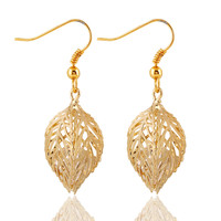 Gold/Silver Hollow Leaf Drop Earrings Pair Jewelry For Women Love Romance Beautiful Accessories 2 Colors
