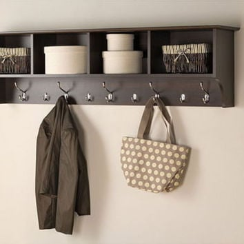 Wide Hanging Entryway Shelf With Four Cubbies Five Double Hooks Espresso Finish