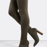 Pointed Toe Stretch Thigh High Boots OLIVE