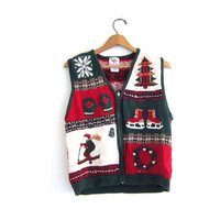 vintage ugly Christmas cardigan sweater vest  // tacky christmas tree sweater // holiday party sweater / size L