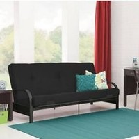 "Metal Arm Futon Sofa Bed Couch With 6"" Mattress Sleeper Furniture Black Blue New"
