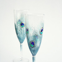 Wedding Glasses Silver Mint Peacock Feathers Design Champagne Flutes Hand Painted Set of 2 Green Purple Blue Swarovski Crystals