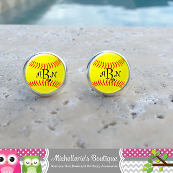 Softball Earrings, Softball Jewelry, Softball Accessories, Personalized Softball,Gifts for Her, Gifts under 10, Sports Gift