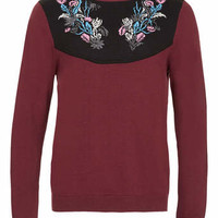 TMD Burgundy Floral Embroidery Jumper* - TM Design - Clothing