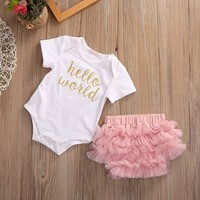 Baby Girl Home Outfit Newborn Hello World Bodysuit  Rose Pink Baby Onsies SiamesePants + Lace Shortpants Two Set