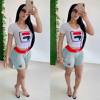 FILA Women Fashion new high quality casual shorts women letter print two piece