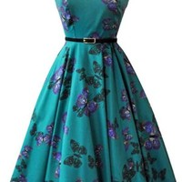 Hepburn Teal Butterflies Dress Retro Lady Vintage London
