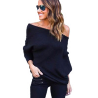 Off Shoulders Knitted Sweater