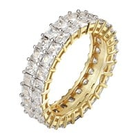 14k Gold Finish Eternity Ring Womens 2 Row Princess Cut Prong 925 Silver Wedding