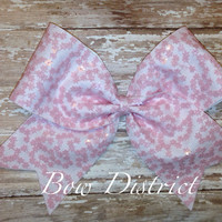 """3"""" Pink Flower Cheer Bow"""