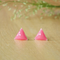 Geometric Tiny Pink Dome Triangle Sterling Silver Stud Earring 92.5% Sterling Silver Post Ears Stud Gift under 10