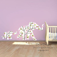 Mom and Baby Elephants Plants Vines Patterned Printed Repositionable Wall Decal