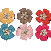 Double Flower Hair Ties - Beautiful Hair Accessories for Girls by Little Pink