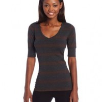 Calvin Klein Performance Women's Colorblock Stripe Elbow Sleeve Tee, Slate Heather/Cocoa Heather, X-Small