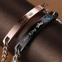 Romantic Her Beast King His Beauty Queen Couple Lovers Titanium Steel Bracelet