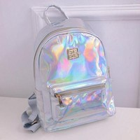 Holographic Backpack Women School Daypack For Teenage Girls