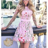 Sexy Women Floral Embroidered Transparent Mesh Dress Pink