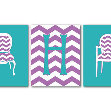 Teen, Tween Wall Art - French Chair and chevron, Initial, Monogram - Chair Art - Personalized Kids Wall Art Trio - Girls Room Prints