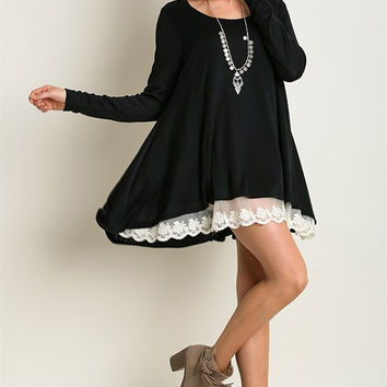 A Touch of Lace Tunic - Black