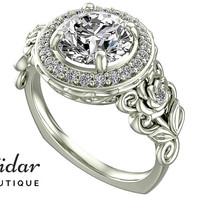 Diamond Engagement Ring,Unique Engagement Ring,White Gold Ring,Flower Engagement Ring,Vintage Ring,Leaves Ring,Floral Ring,Floral Ring