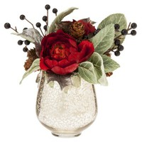 Threshold™ Ranunculus and Berries in Mercury Glass Vase - 8""