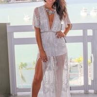 Ivory and Silver Lace Maxi Romper