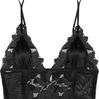 Fleur Du Mal - Lily embroidered lace, stretch-tulle and satin soft-cup triangle bra
