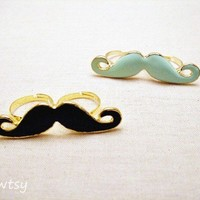 $3.50 Fun Mustache Double Rings in 5 Colors
