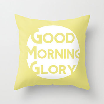 Yellow Good Morning Glory Camp & Cabin Decorative Throw Pillow Cover by Belles and Ghosts for Home Decor