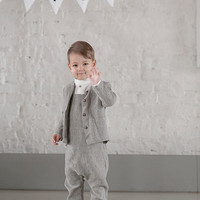 Toddler blazer Boys suit Linen Jacket Toddlers Boys blazer Wedding party jacket Ring bearer suit Baptism clothes Christmas outfit