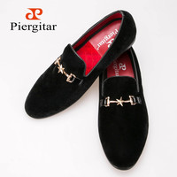 New Style Velvet Men Shoes with Metal buckle Loafers Smoking Slipper Free Shipping