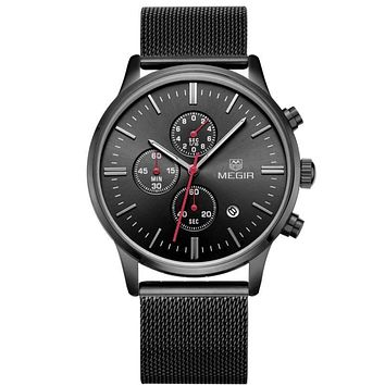Watches Men Brand Chronograph Fashion Simple Men Watches Stainless Steel Mesh Band Quartz-Watch Thin Dial Man Casual Clock