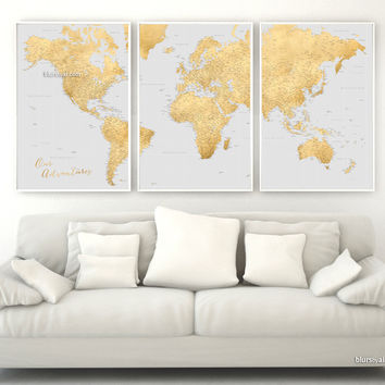 """Custom quote - highly detailed world map printable with cities, set of 3 split panels in 24x36"""" each in faux gold foil and grey. Everly."""