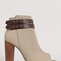 Dollhouse Emerge Two-Tone Nubuck Belted Peep Toe Ankle Bootie