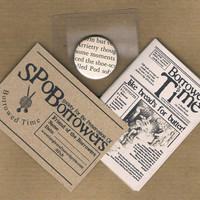 MEMBERSHIP PACKET Join the Society for the Preservation of Borrowers - inc. micro zine, magnifier, & upcycled badge