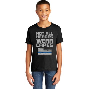 Police Not All Heroes Wear Capes Youth Kids Shirt