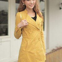 Yellow Cotton Coat Double Buttoned Stand Collar V-Neck Casual Women Outwear M/L@MF12203 - $35.89 : DressLoves.com.