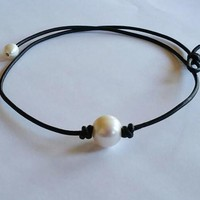 Pearl and Leather Necklace + Free Gift Random Choker +Gift Box