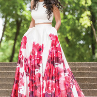 Jovani 34028 In Stock Size 2 White Floral Two Piece Prom Dress Evening Gown