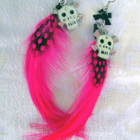 Dia De Los Muertos Feather Skull Earrings by hobbittownjewelry