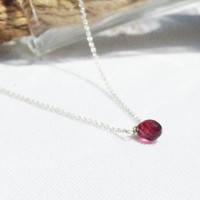 Silver Garnet Necklace - Red Garnet - Sterling Silver - Layering Necklace - January Birthstone - Red Stone - Dainty Necklace