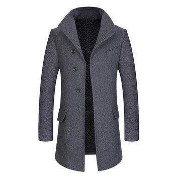 Winter Wool Solid Color Slim Fit Warm Thick Wool Blends Woolen Pea Coat Trench Coat