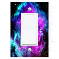 Star System Light Switch Cover with Decal Galaxy Room Stickers Kids Room LS24