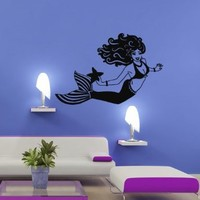 Wall Decal Decor Decals Art Mermaid Girl Fish Tail Ocean Sea Swimming Immersion Bedroom (M1018)