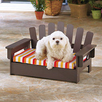 Adirondack Pet Collection Chair Bed w/ Striped Cushion For Small Dog, Cat, Puppy